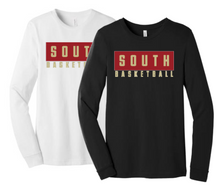 01 (Youth and Adult) BELLA+CANVAS ® Unisex Jersey Long Sleeve Tee (Black or White)with SOUTH BASKETBALL Screen Printed Logo Full Front