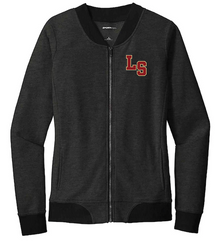 06 Sport-Tek® Ladies Lightweight French Terry Bomber (HEATHER BLACK) with Left Chest Embroidered LS Logo