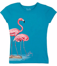 Guy Harvey Flamingos Little Girls Tee Shirt in Turquoise or Black