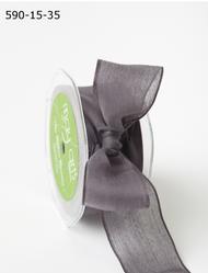 """May Arts - Soft Semi-Sheer Ribbon 1.5"""" - Pewter"""