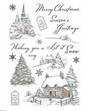 Wild Rose Studio - A5 Stamp - Winter Cottages