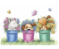 Wild Rose Studio - Dogs In Pots Clear Stamp (CL515)