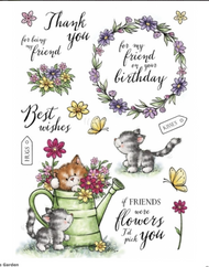 Wild Rose Studio - A5 Stamp - Cats In The Garden (AS008)