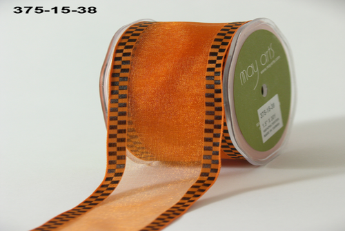 May Arts Sheer Orange With Black Check Edge (375-15-38)