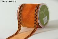 May Arts Sheer Orange With Black Check Edge (375-15-38)
