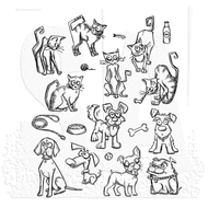 Tim Holtz Cling Rubber Stamp Mini Cats & Dogs (CMS272)