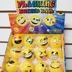 Flashing Rubber EMOJI Balls 12 per display .58 ea