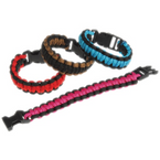 Two Tone Color Para Cord Survival Bracelets   12 per display bx .75 each