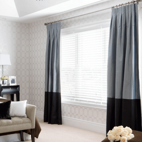 grey and black block curtains
