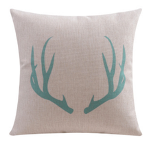 Aqua Antlers Cushion Cover 45cm x 45cm Linen Cotton | Sold Out!