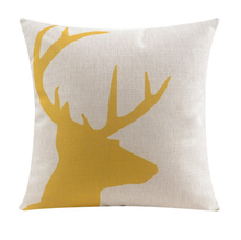 Yellow Gold Deer Cushion Cover