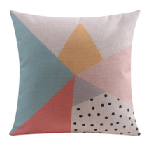 Blue Pink Yellow Pastel Geometric Cushion Cover | Sold Out