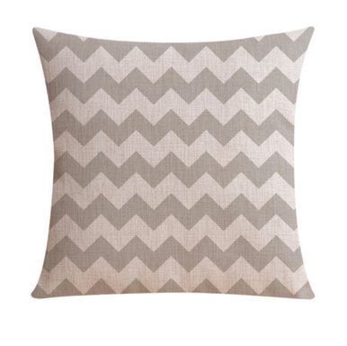 Grey and Linen Zig Zag cushion cover