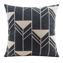 Black and White Triangle Linen Cushion Cover 45cm x 45cm