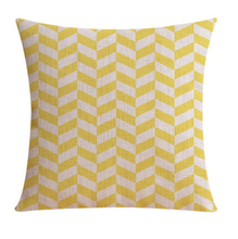 Yellow Chevron Look Linen Cushion Cover