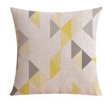 Linen Cotton Cushion Cover with Yellow and Grey Triangles