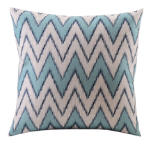 Blue and Aqua Zig Zag Linen Cushion Cover