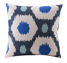 Blue Honeycomb Linen Cushion Cover