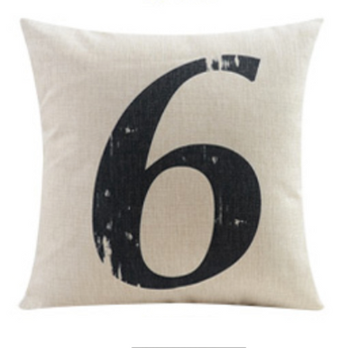 Number Six 6 Cushion Cover