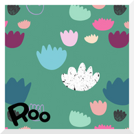 STORY OF ROO | Candy Coral | Green - Organic Cotton JERSEY (0.25m)