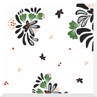 Fanciful by  Rae Hoekstra |  Bouquet Toss on White | Organic Cotton Fabric (0.25m)