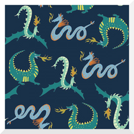 DUE END JAN - MAGICAL CREATURES by Monaluna | There Be Dragons | Organic Cotton Poplin (0.25m)