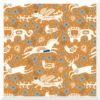ENCHANTED KINGDOM | Key to the Kingdom | Orange | Organic Cotton Fabric (0.25m)