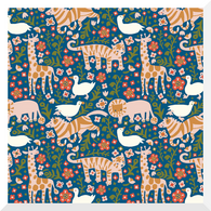ENCHANTED KINGDOM | Menagerie | Royal | Organic Cotton Fabric (0.25m)