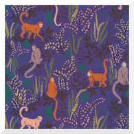 GARDEN OF EDEN | Tranquil Monkeys | Organic Cotton Fabric (0.25m)