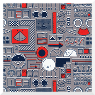 COSMIC CONVOY by Michéle Brummer Everett | Mission Control Grey | 100% Organic Cotton FAT QTR (50cm x 56cm)