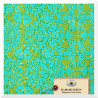 Lisa Corti Canvas Damask Turquoise Acid Green - Fabric (0.25m)