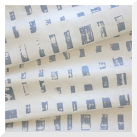 Pip Willy | City Lights | Metallic Silver/Blue on Off White - Linen Cotton (0.25m) 145cm WIDE