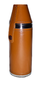 Tan Leather Hunters Flask - 8oz