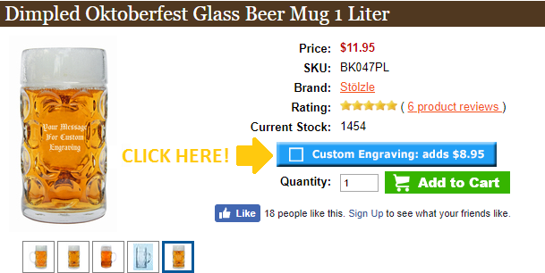 Step 1 to Ordering a Personalized Beer Mug