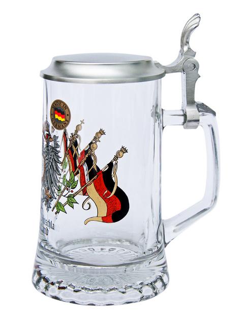 Deutschland Crest Beer Stein with Pewter Lid