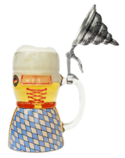 Glass Beer Stein with Pewter Lid