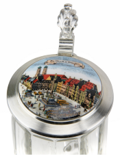 Munich Glass Beer Stein with Lid