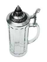 Glass Beer Stein with Pointed Pewter Lid