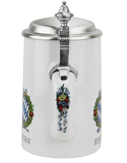 German Porcelain Beer Stein with Pewter Lid
