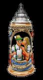 Oktoberfest King Werk Ceramic Beer Stein with Pewter Lid