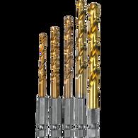 Makita D-35318 5 Piece Titanium Coated Drill Bit Set 1/4 In Hex Shank