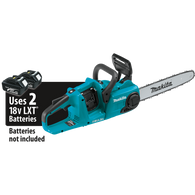Makita XCU03Z  18V X2 (36V) LXT® Lithium‑Ion Brushless Cordless 14IN Chain Saw is powered by two 18V LXT® batteries (sold separately) for 36V power and run time, but without leaving the strongly-preferred 18V battery platform.