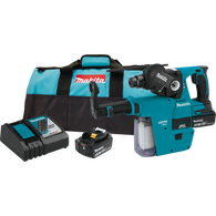 "Makita XRH011TX 18V LXT® Lithium‑Ion Brushless Cordless 1"" Rotary Hammer Kit, accepts SDS‑PLUS bits, w/ HEPA Dust Extractor (5.0Ah) combines Makita BL™ Brushless Motor Technology with concrete dust extraction - without the cord."