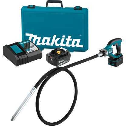 Makita XRV02T 18V LXT® Lithium‑Ion Cordless 8FT Concrete Vibrator Kit (5.0Ah) delivers more run time with maximum vibrations per minute (VPM) for strengthening concrete when running a corded tool is not an option.