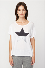 Crew Split Star Tee in White | Sundry at Fire and Shine | Womens Tops
