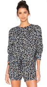 Leopard Print Pullover in Grey | Sundry at Fire and Shine | Womens Long-Sleeve Tops
