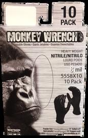 """Watson Monkey Wrench 5558X10 - Monkeywrench 10 Pk, 8 MIL, 11"""" Blk - Large"""
