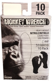 "Watson Monkey Wrench 5558X10 - Monkeywrench 10 Pk, 8 MIL, 11"" Blk - eXtra Large"