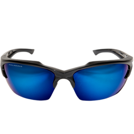 Edge Eyewear TSDKAP418 - Khor Polarized, Black/Aqua Precision Blue Mirror Lens