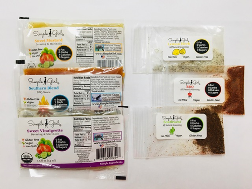 The sample pack has organic sugar-free bbq sauce and dressings including the following flavors: Southern Blend BBQ Sauce, Sweet Vinaigrette and Sweet Mustard Dressings.